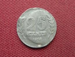 Pays Bas Très Rare Faute De Frappe 25 Cents 1942 - Netherlands
