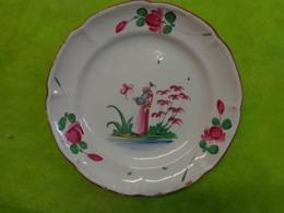 Assiette Ancienne - Faience -decor Fleur- - Other Collections