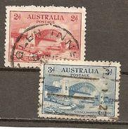 Australia. Scott # 130-31  Used. Sydney Harbor Bridge 1932 - Ponts