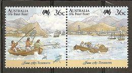 Australia. Scott # 1025a-b, MNH Pair. First Fleet Arrival At Tenerife 1987 - Barcos