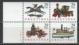USA. Scott # 2718a, MNH. Unfolded  Booklet Pane Of 4. Antique Toys 1992 - 1981-...