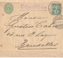 SWITZERLAND 1905 5c NEWSWRAPPER, H & G E16, UPRATED WITH 5c & USED ZURICH TO BRUSSELS, WITH ZURICH-NEUMUENSTER POSTMARKS - Postwaardestukken