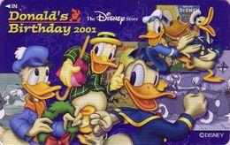 Télécarte Japon NEUVE / 110-212875 - DISNEY STORE - DONALD Duck Birthday 2001 Canard Japan MINT Phonecard / 3000 EX - Disney