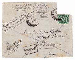 Indochine Non Réclamé Retour à L'envoyeur Saïgon Pour Bordeaux Gironde 1939