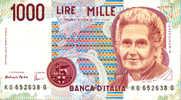 1000 Lire MILLE  Montessori Serie KG 652638 G - [ 2] 1946-… : République