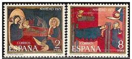 España 1971 Edifil 2061/2 Sellos ** Christmas Nöel Navidad Fragmentos Del Altar De Aviá Y De Saint Andreu De Sagars Comp - 1931-Hoy: 2ª República - ... Juan Carlos I