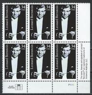 USA. Scott # 3521 MNH  Plate Block Of 6. Leonard Bernstein Conductor 2001 - Musique