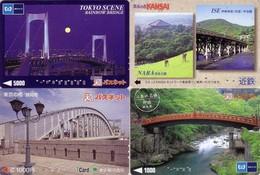 Lot De 4 Cartes Japon - PONT - 4 Japan Prepaid Cards BRIDGE - 4 Karten BRÜCKE - 23 - Tarjetas Telefónicas
