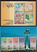 1980/1 Singapore 2 Foglietti Nuovi Illing. London Stamp E Changi Airport - 2 Miniature Sheet - New -  MNH - Singapore (1959-...)