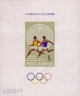 BF Bloc-feuillet Roumanie Non Dentelé - Jeux Olympiques Mexico Olympic Games Sheetlet Unperf Olympiade Block Geschnitten - Ete 1968: Mexico