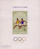BF Bloc-feuillet Roumanie Non Dentelé - Jeux Olympiques Mexico Olympic Games Sheetlet Unperf Olympiade Block Geschnitten