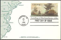 USA. Scott # UX84 FDC Postal Card. Rochambeau's Landing. Joint Issue With France 1980 - Gezamelijke Uitgaven