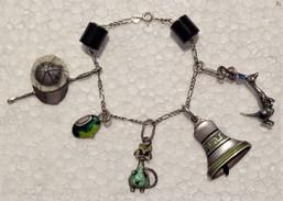 Silver Bracelet & Enameled Silver Charm: Cedora, Cat, Kangaroo, Bell, Jockey Hat, Fruit - Bracciali