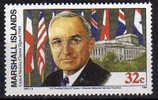 President Harry Truman Et Signature Charte Des Nations-Unies  25 Juin 1945  1 T-p Neuf ** Iles Marshall - Seconda Guerra Mondiale
