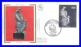 2234 (Yvert) Sur Enveloppe Premier Jour Illustrée Sur Soie - Sculpture De Marc Boyan. La Famille - France 1982 - FDC