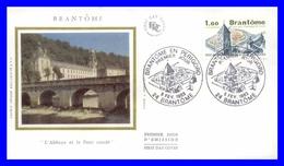 2253 (Yvert) Sur Enveloppe Premier Jour Illustrée Sur Soie - Série Touristique Brantôme En Périgord - France 1983 - FDC