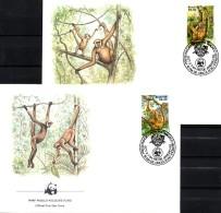 Affen WWF-Set 13 Brasilien 2052/3 On 2 FDC 6€ Spinnenaffe Naturschutz 1984 Dokumentation Wildlife Cover Of Brasil/BRAZIL - Nature