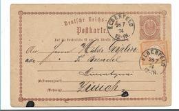 Brs214/ Ganzsache + Zusatzmarke (beschädigt) 1874 In Die Schweiz