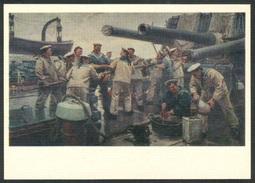 9-699 RUSSIA 1976 POSTCARD A11060 Mint NAVY NAVAL SHIP BATEAU SCHIFF MILITARY MILITARIA SAILOR ARTILLERY GUN CANON - Warships