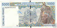 WEST AFRICAN STATES 5000 FRANCS 2003 SENEGAL @ - Sénégal