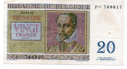 Belgium 1956 20 Francs Banknote P-132-b. 3-4-1956 VF - Unclassified