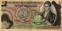 COLOMBIA 20 Pesos Oro 1972 NOTE - Colombia
