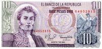 Colombia 10 Pesos 1980 BANKNOTE Unc - Kolumbien