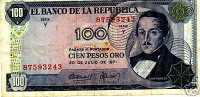 COLOMBIA 100 Pesos Oro 20.7.71  F - Colombia