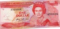East Caribbean States Curr Authority $1 ND(1965) K Aunc 1985 / 1988 - Oostelijke Caraïben