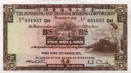 BANKNOTE - HONG KONG & SHANGHAI BANKING CORP. $5 1971 - Hong Kong