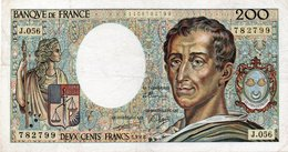 France 200 Francs Banknote Montesquieu 1988 Vf - 1962-1997 ''Francs''