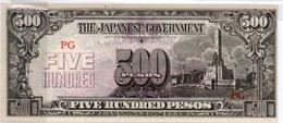 Seconda GUERRA MONDIALE 1944 GOVERNO Giapponese BANCONOTA 500 PESOS - Japón