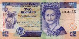 Belize 2002 2 Dollars Banknote P-60 VF - Belize