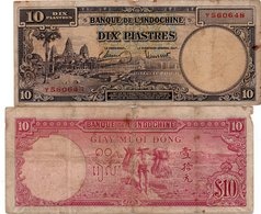 Indochina 10 Piastres Note ND 1947 P-80 See Scan - Indochina