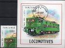 E-Lok Aus France 1991 Tansania 1029 Plus Block 165 O 4€ Historische Eisenbahn Bf Train Bloc Transport Sheet Of Tanzania - Tanzanie (1964-...)
