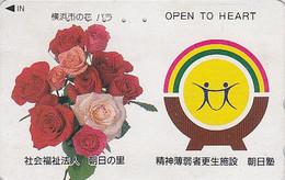 Télécarte Japon - FLEUR ROSE / Bouquet - FLOWER Bunch Japan Phonecard - Blume Telefonkarte  - 555 - Fleurs