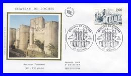2402 (Yvert) Sur Enveloppe Premier Jour Illustrée Sur Soie - Série Touristique Château De Loches - France 1986 - FDC