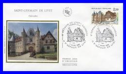 2403 (Yvert) Sur Enveloppe Premier Jour Illustrée Sur Soie - Série Touristique Saint Germain De Livet - France 1986 - FDC