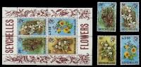 (006+38) Seychelles  Flowers Sheet / Bf / Bloc Fleurs / Blumen / Bloemen / Flora   ** / Mnh  Michel 282-85 + BL 1 - Seychelles (1976-...)