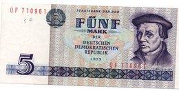 Impero Tedesco RDA - Rep. Dem. Tedesca Staatsbank Der DDR 5 Mark 1975 See Scan - [ 6] 1949-1990 : RDA - Rép. Dém. Allemande
