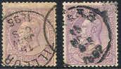 Belgium   59 & 59a, Used,  SCV$ 75.00  (bel059-7,   Michel  47 - 1884-1891 Leopold II