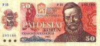 CZECHOSLOVAKIA  50 KORUN RED MAN FRONT TOWN LANDSCAPE BACK PREFIX F DATED 1987 P.96a  READ DESCRIPTION CAREFULLY !! !! - Tchécoslovaquie