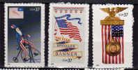 USA. L'Oncle Sam Sur Un Grand Bi, President Harrison 1888, La Baniere Etoilee. 3 T-p Neufs ** - Unused Stamps