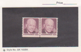 USA 1402 Eisenhower 8¢ Dark Color Joint Line Pair Mint VF/NH - Coils & Coil Singles