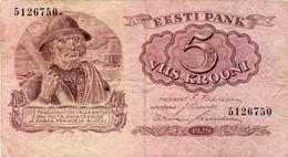 Estonia Estonian Banknote 5 Krooni 1929 F VF - Estonia
