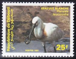 Timbre Neuf** - Faune Oiseaux Spatule Blanche (Platalea Leucorodia) - N° 677 (Yvert) - N° 552 (Michel) - Djibouti 1991 - Djibouti (1977-...)
