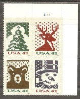 USA. Scott # 4207-10 MNH Plate Block Of 4. Christmas 2007 - Números De Placas