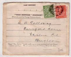 LETTRE REUTILISEE PAR ECONOMIE DE GUERRE - 1918 - CURIOSITE - 1902-1951 (Kings)