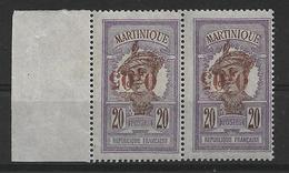 Martinique N° 106a** Variété Surcharge Renversée Une Paire Cote 260€. - Nuovi