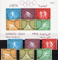 Olympia Tokyo 1964 Imperf.LIBYAN 166/1+Block 8 ** 27€ Boxen Fußball Hürden Radsport Sprung Ss Bloc Sheet Bf Olympic - Libyen